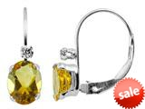 6x4mm Citrine and White Topaz Leverback Earrings