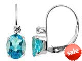 6x4mm Blue Topaz and White Topaz Leverback Earrings