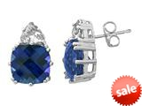 8x8mm Created Blue Sapphire with White Sapphire Post-With-Friction-Back Earrings