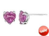 6x6mm Heart Shaped Created Pink Sapphire Post-With-Friction-Back Earrings