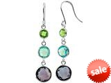 925 Sterling Silver Peridot, Sky Blue Topaz, and Amethyst Wire Wrapped Earrings