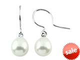 7.5mm White Freshwater Rice Cultured Pearl Fishhook Earrings style: E6245PRLWHT
