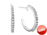 1.5mm Created White Sapphire Post-With-Friction-Back Hoop Earrings