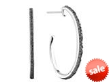 Hoop Earrings with Black Rough Diamond style: E6780DBLK