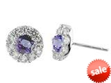 925 Sterling Silver 9.4mm Round Tanzanite and White Topaz Earrings