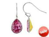Color Craft™ 14x10 mm Pear Shape Rose Genuine Swarovski Crystal Ear Wire Earrings