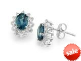 925 Sterling Silver Oval London Blue Topaz and White Topaz Earrings style: E7352LDNW