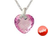 13x13mm Created Pink Sapphire Heart Shaped Pendant- 18 Inch Chain Included