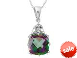 10x10mm Antique Shaped  Mystic Topaz and White Topaz Pendant- 18 Inch Rope Chain Included style: P5316MUL10