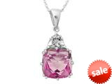 10x10mm Antique Shaped Created Pink Sapphire and Created White Sapphire Pendant- 18 Inch Rope Chain Included style: P5316MUL13