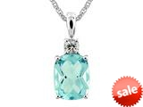 9x7mm Antique Shaped Blue Topaz and White Topaz Pendant- 18 Inch Chain Included