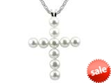 4mm Antique Shaped Pearl Created Cross Pendant- 18 Inch chain Included