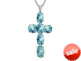 6x4mm Oval Created  Blue Topaz Cross Pendant - 18 Inch Chain Included style: P7076SKY