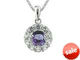 925 Sterling Silver 9.7mm Round Tanzanite and White Topaz Pendant