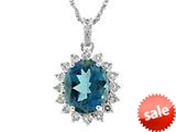 925 Sterling Silver Oval London Blue Topaz and White Topaz Pendant