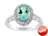 9x7mm Oval Blue Topaz and White Topaz Ring