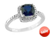 6x6mm Cushion Shaped Created Sapphire Ring style: R8625SPCRS