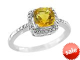 6x6mm Cushion Shaped Citrine Ring style: R8625SPC