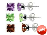 5x5mm Garnet, Amethyst, and Peridot 3 Piece Square Earrings Set