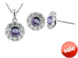925 Sterling Silver 9.3mm Round Tanzanite and White Topaz Pendant and Earrings Set