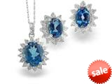 925 Sterling Silver Oval London Blue Topaz and White Topaz Pendant and Earrings Set style: S525LDN