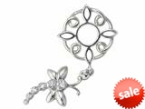 Storywheel® Created White Sapphire Dragonfly Dangle Bead / Charm style: W119