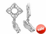 Storywheel® Created White Sapphire Praying Hand Bead / Charm style: W139