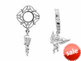 Storywheel® Created White Sapphire Angle Dangle Bead / Charm style: W144