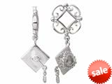 Storywheel® Created White Sapphire Graduation Hat Dangle Bead / Charm style: W169