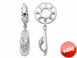 Storywheel® Created White Sapphire Beach Slipper Dangle Bead / Charm style: W178