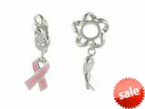 Storywheel® Enamel Pink Ribbon Dangle Bead / Charm style: W248PLAIN