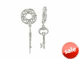 Storywheel® Created White Sapphire Key Dangle Bead / Charm style: W261