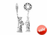Storywheel® Created White Sapphire Statue of Liberty Dangle Bead / Charm style: W336