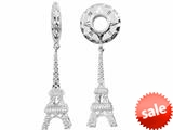 Storywheel® Created White Sapphire Eiffel Tower Dangle Bead / Charm style: W337