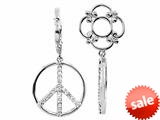 Storywheel® Created White Sapphire Peace Sign Dangle Bead / Charm style: W363