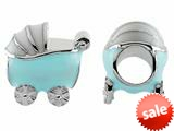 Storywheel® Baby Blue Enamel Baby Carriage Bead / Charm