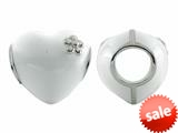 Storywheel® White Enamel Puffed Heart Bead / Charm