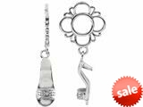 Storywheel® Created White Sapphire Shoe Dangle Bead / Charm style: W487