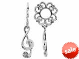 Storywheel® Created White Sapphire G-clef Dangle Bead / Charm style: W488