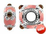 Storywheel® Light Pink Enamel and Garnet Pandora Compatible Bead / Charm style: W551G
