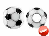 Storywheel® Black and White Enamel Soccer Ball Bead / Charm style: W582