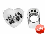 Storywheel® Black Enamel Pet Paws On Heart Bead / Charm style: W638