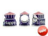 Storywheel® Pink and Purple Enamel Happy Birthday Cake Bead / Charm style: W644
