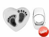 Storywheel® Heart Baby Feet Bead / Charm style: W667