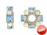 Storywheel® Swiss Blue Topaz And Cultured Freshwater Pearl Bead / Charm style: W72SWPRL