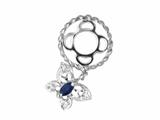 Storywheel Created Blue Sapphire and Created White Sapphire Butterfly Dangle Bead / Charm