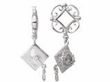 Storywheel® Created White Sapphire Graduation Hat Dangle Bead / Charm style: W169