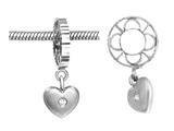 Storywheel Silver Sandblast Diamond Heart Dangle Bead / Charm