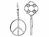 Storywheel® Created White Sapphire Peace Sign Dangle Bead / Charm