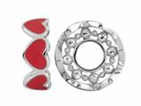 Storywheel Red Enamel Hearts Bead / Charm